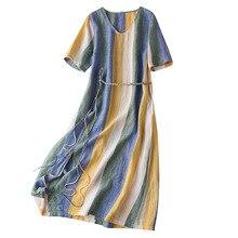 100% Linen  Striped  Straight Dress Straight  Sashes  Short Sleeve Mid-Calf  O-Neck Summer Dresses Women Short Sleeve