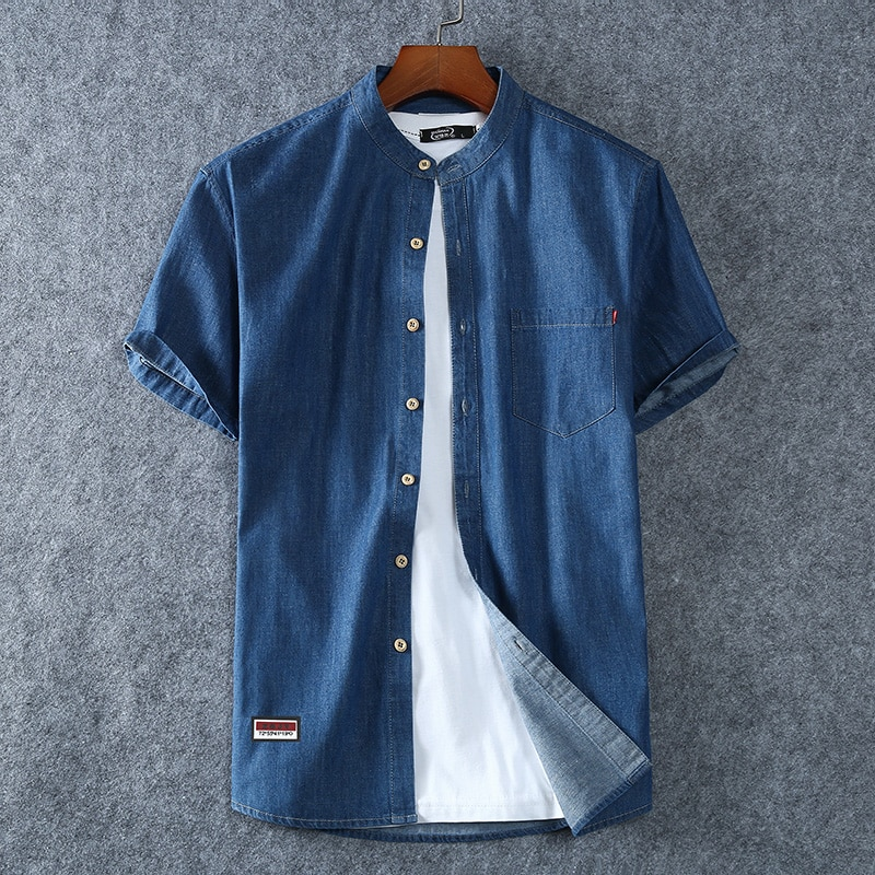 Men's 100% Cotton Summer Fashion Pure Color Breathable Comfortable Stand Collar Denim Short Sleeve Shirt(oversized plus size)