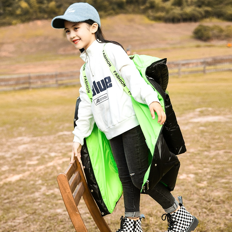 8 10 years Winter Thicken Long Coat for Girl 80% White Duck Down Warm Jackets Teen Girls Hoodie Parkas enlarge