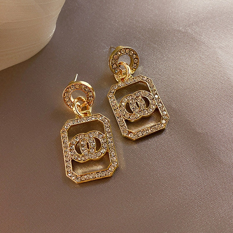 LATS Circle Gold/Silver Color Dangle Earrings Long Retro Full Rhinestone Flash Earrings for Women 2020 Fashion Jewelry Brincos