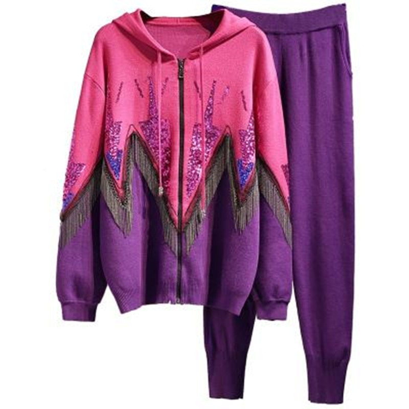 Yiciya 2020 outono inverno moda outono inverno moda outono inverno moda luxurios grânulo borla feminino agasalho terno roupas