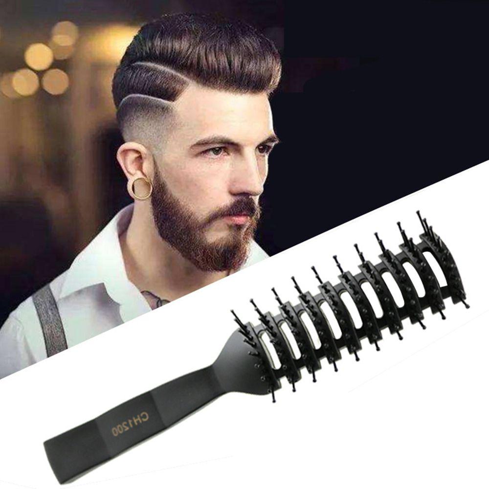 Cepillo peine para el pelo Antiestático de uso húmedo/Seco pequeño peine curvo con mango de textura mate peine para Estilismo de masaje
