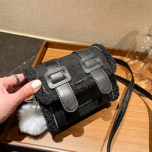 Winter Warm Handbags For Women Designers Faux Fur Female Shoulder Bag PU Leather Crossbody Bags For Girls