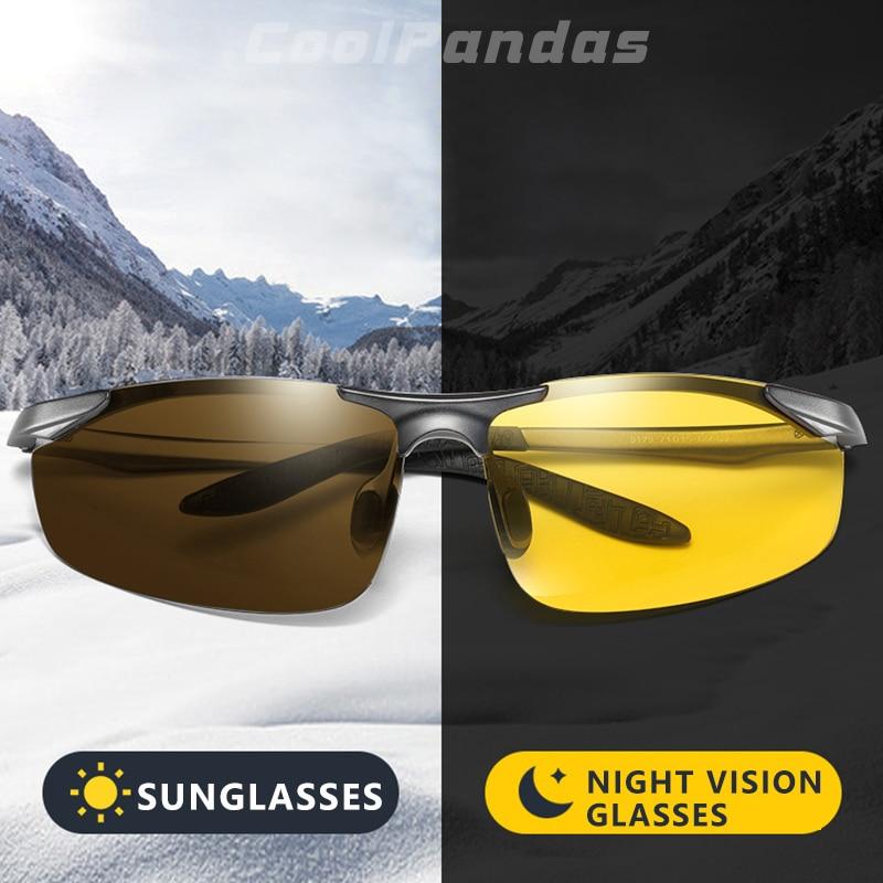 CoolPandas-نظارات شمسية مستقطبة من الألومنيوم فوتوكروميك ، نظارات قيادة ليلية ونهارية ، للرجال والنساء