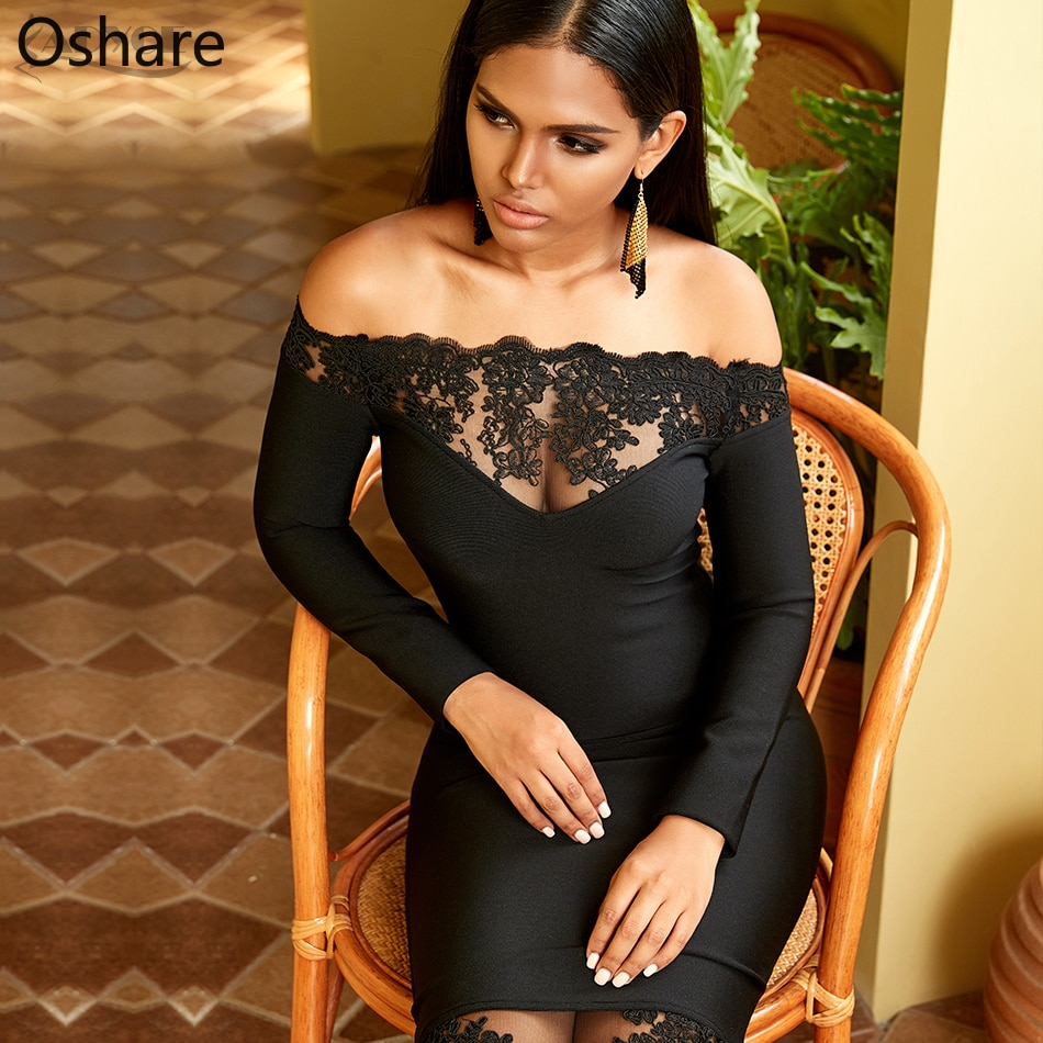 Roupas 2020 novas mulheres preto vestido bandage vestidos slash neck vestido de festa elegante fora do ombro rendas bodycon clube dressv estilo
