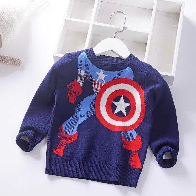 Свитер для мальчиков свитер с длинными рукавами и рисунком супергероя Капитан