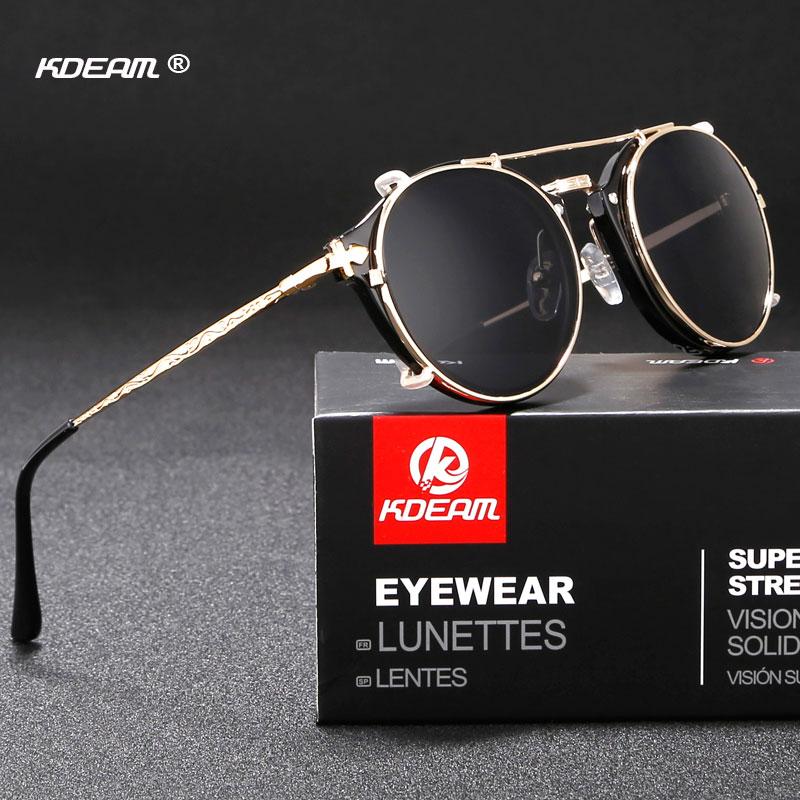 KDEAM novedad Gafas de sol Steampunk con Clip UV400 para hombre Gafas de sol redondo con espejo UV400 Gafas de sol con estilo con estuche