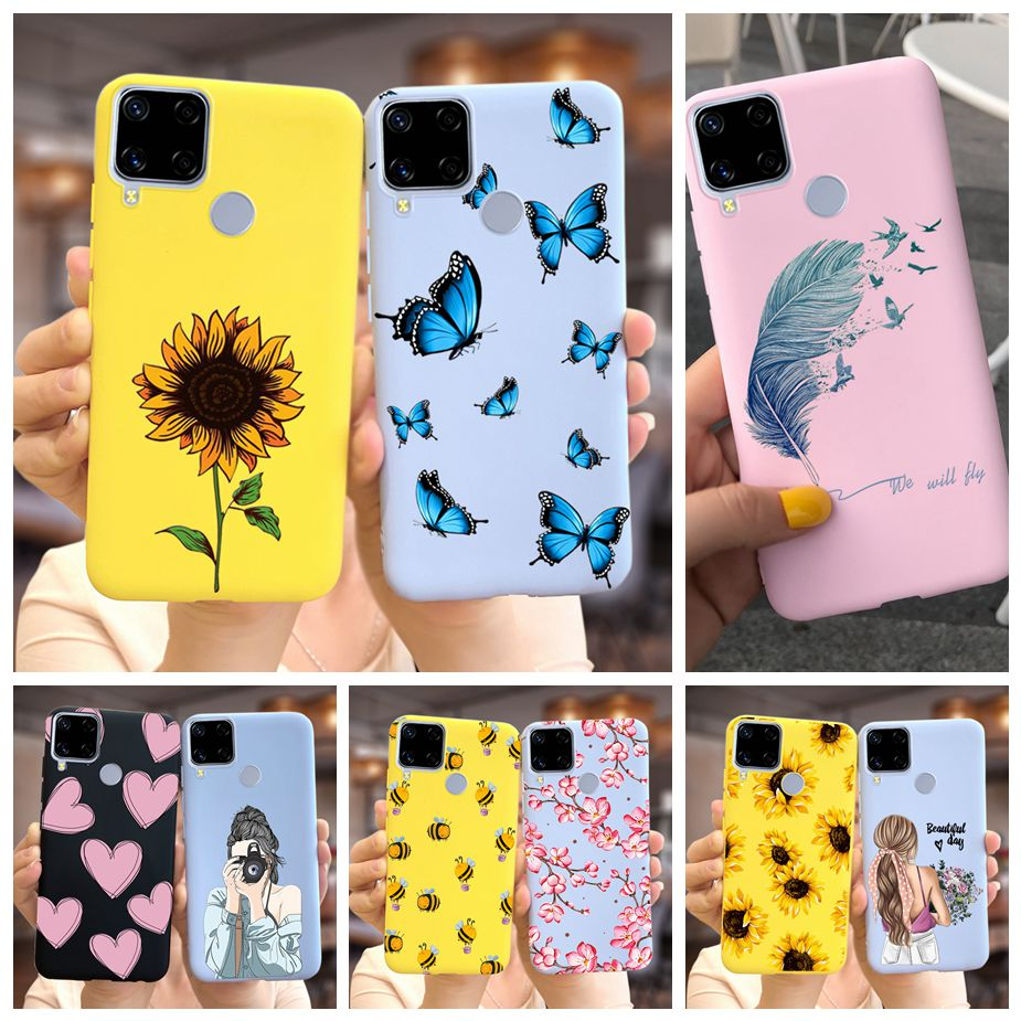 Cute Fashion Cover For Realme C15 Case Soft Silicone Beautiful Candy Painted Shell For Oppo Realme C15 C 15 RealmeC15 Phone Case