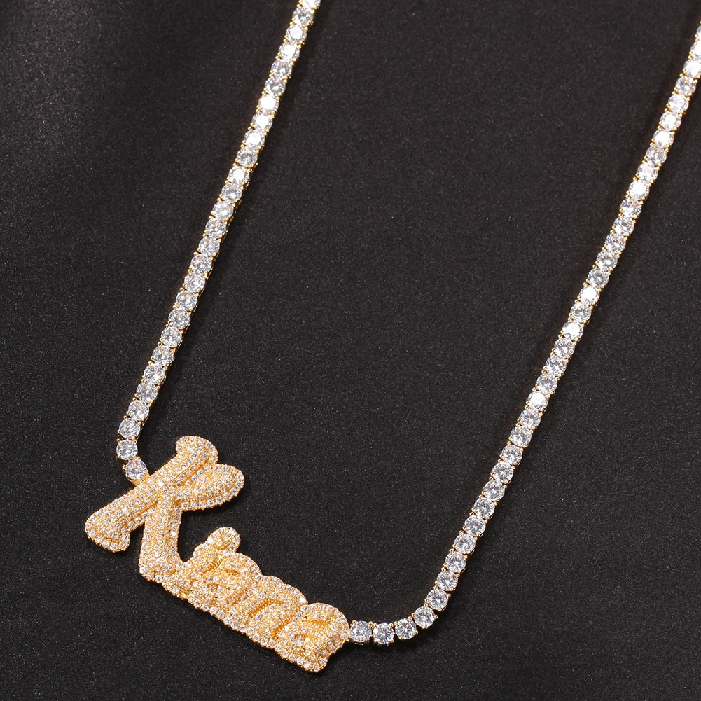 Uwin Custom Name Necklace Cursive Letter With Tennis Chain Cubic Zirconia Gold Silver Color Necklace Fashion Hiphop Jewelry