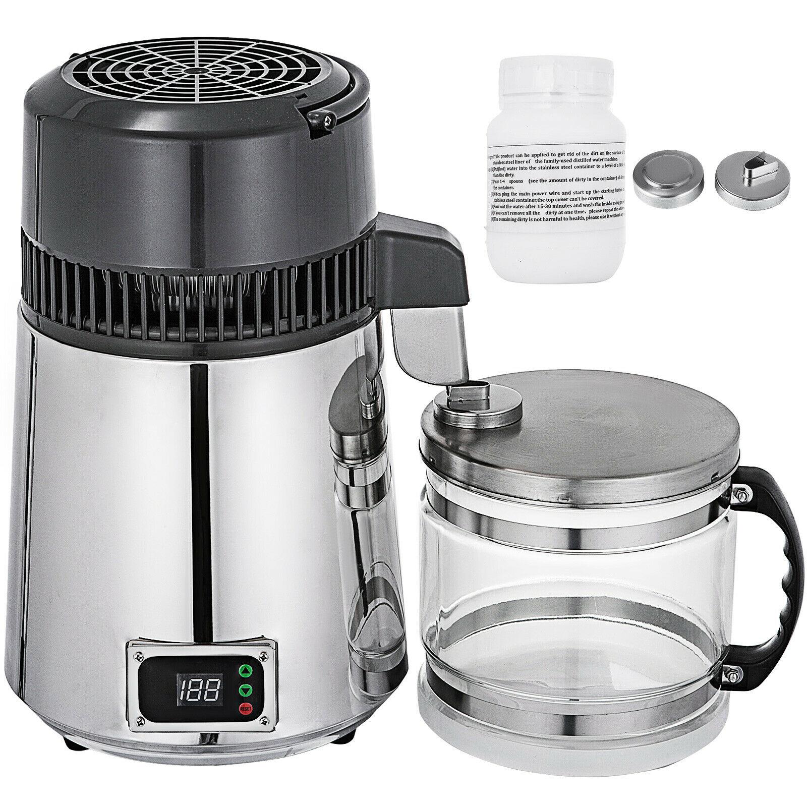 Envío Gratis, destilador de agua pura, purificador de agua 4L, filtro de agua, encimera de acero inoxidable