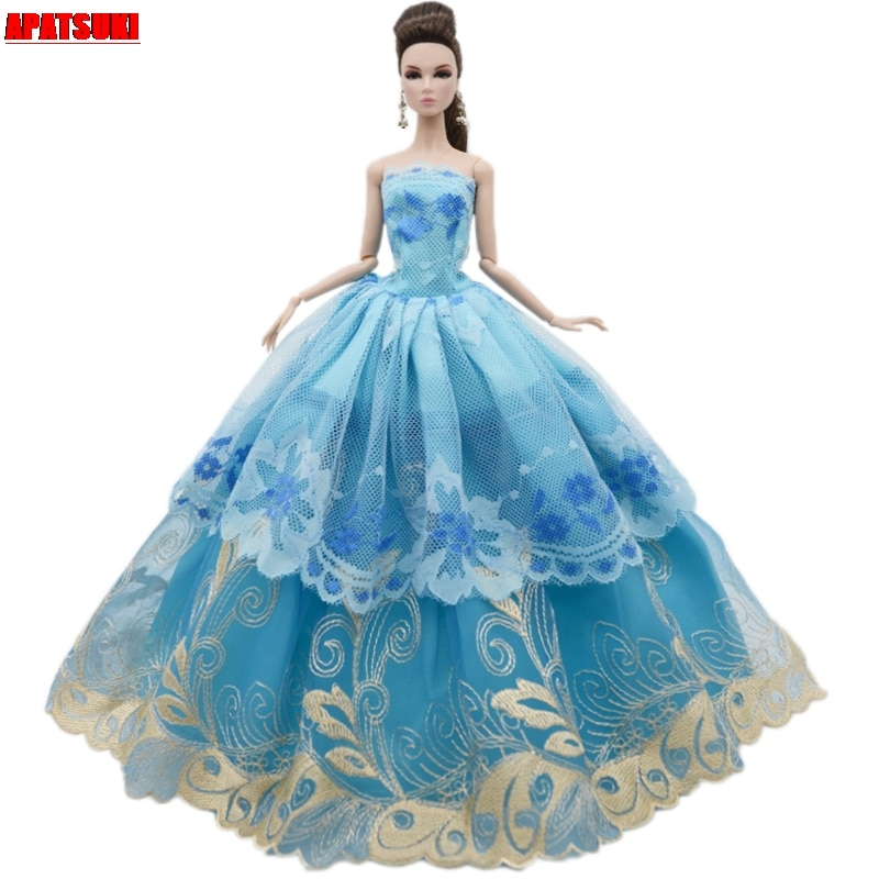Blue Flower Lace Wedding Dress For Barbie Doll Outfits Clothes Multi-layer Party Gown For 1/6 BJD Dolls Accessories Toys