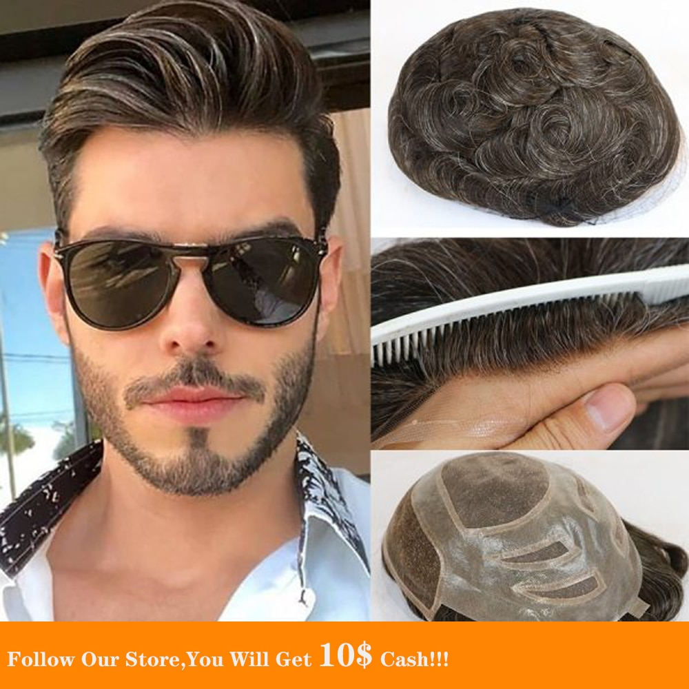 BYMC Mens Toupee Fine Mono 100% indian remy hair french lace / swiss lace Front men toupee , Prosthesis hair pieces hair system