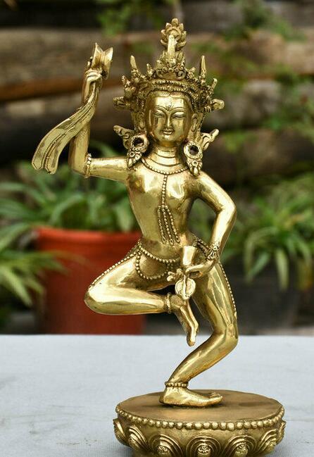 "9 ""tibet bronze buddhsim tantra suporte vajrayogini vajravarahi buda escultura"