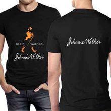 Johnnie Walker Scotch Whisky Tshirt Black Cotton Tee Two Sides Men'S T-Shirtnew T Shirt Spring Summer