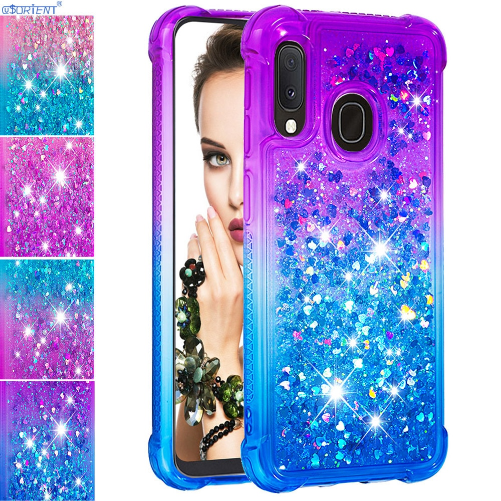 Para Samsung Galaxy Jean2 A20e Bonito Glitter Líquido Silicone Bumper Caso Jean 2 SM-A202F/DS SM-A202K SM A202F/ DS Montado Tampa Traseira