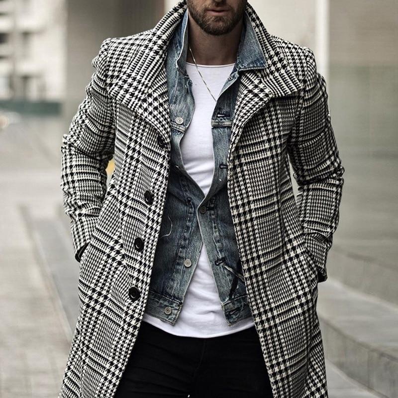 Laamei Korean Men Wool Coats Overcoat Male Winter Warm Clothes Wool Outwear Long Black White Plaid Blends Male Coat Plus Size