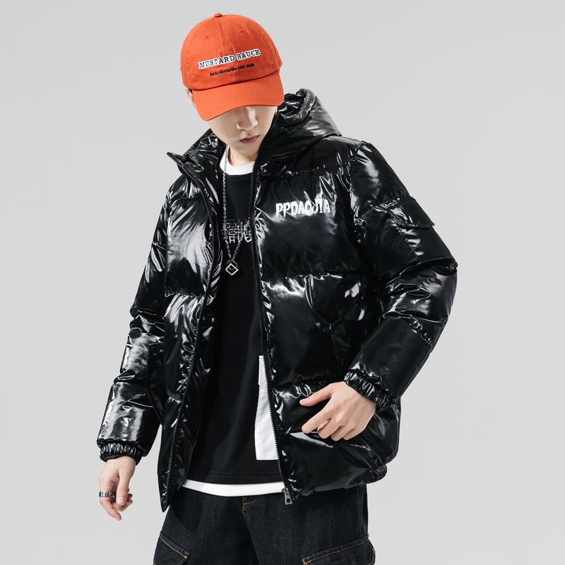 Mens Plus Size Bright Puffer Jackets for Winter 2020 Fashion Trends Thick Coats with Hood Japan Teens Harajuku Style Warm Padded