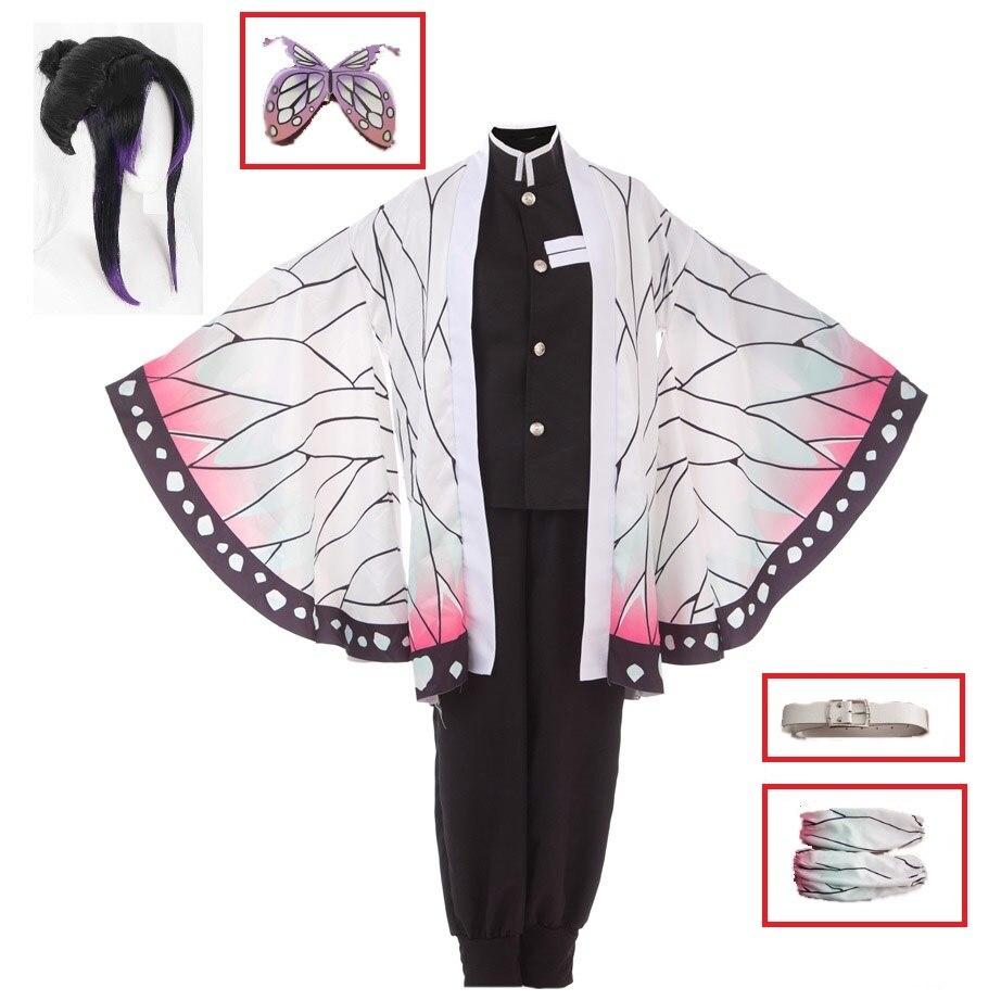 Frauen männer Mädchen Anime Dämon Slayer Keine Yaiba Kochou Shinobu Cosplay Kostüm Halloween Carnaval Party Kostüm Kimono Uniform Perücke