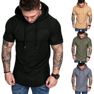 Men's Casual Hooded T-Shirts Fashion Short Sleeve Solid Color Pullover Top Summer T Shirt for Men