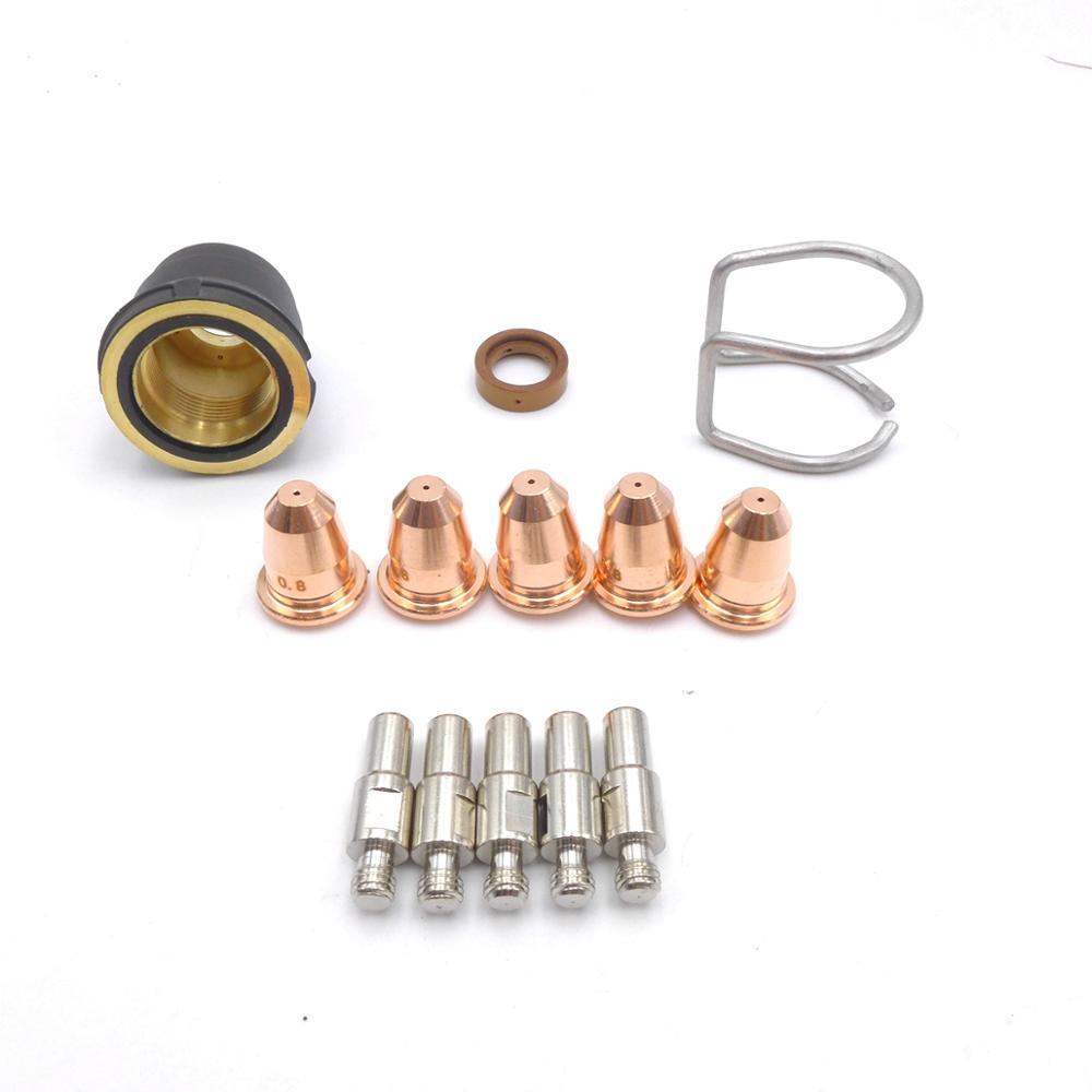 13PCS Plasma Cutter Torch S25 S45 Accessory Kit PR0110 Electrodes PD0116 Nozzle Tips Spacer Guide Retaining Cap Gas Diffuser