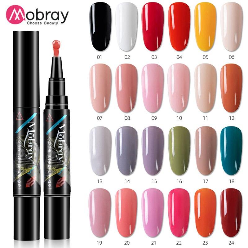 Mobray one step gel Nail Varnish Pen Glitter 3 In 1 Art Color Gel Polish Hybrid Easy To Use UV Paint