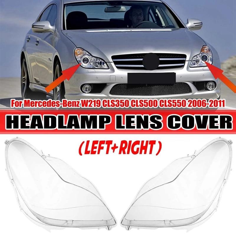 2X سيارة الجبهة عدسة المصباح الأمامي غطاء لمرسيدس بنز W219 CLS350 CLS500 CLS550 2006-2011 A2198202961 A2198203061