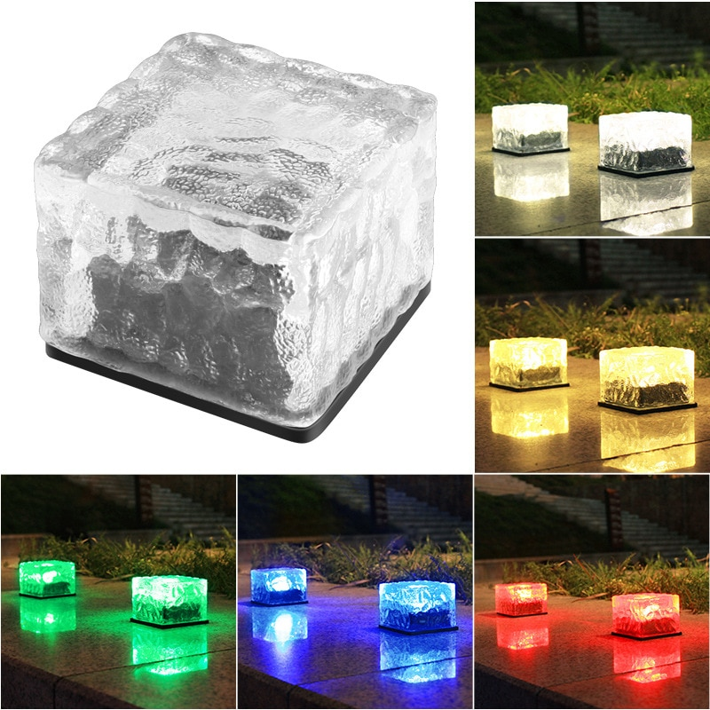 Ice Brick LED Solar Light Waterproof Light Floor Tile Paver LED Light Decoration for Garden Backyard Pathway Road Landscape Lamp