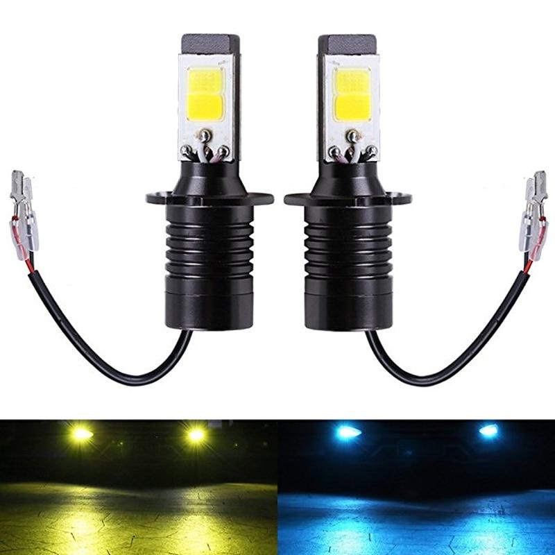 2 шт., светодиодные лампы H3, двухцветные Автомобильные противотуманные фары, DRL лампа H3, автомобильные фары белого, желтого и голубого цвета