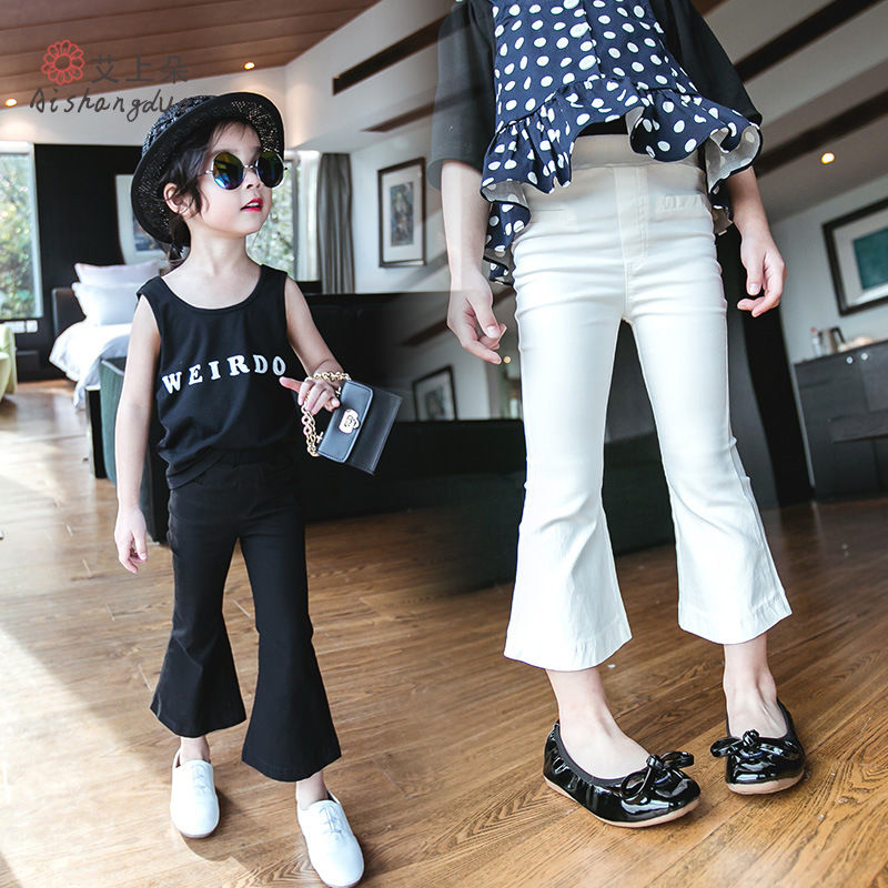 Girls Denim Pants Baby Spring Fall Jeans Casual Trousers Kids Solid White Black Long Skinny Slim Fit Childrens Clothing