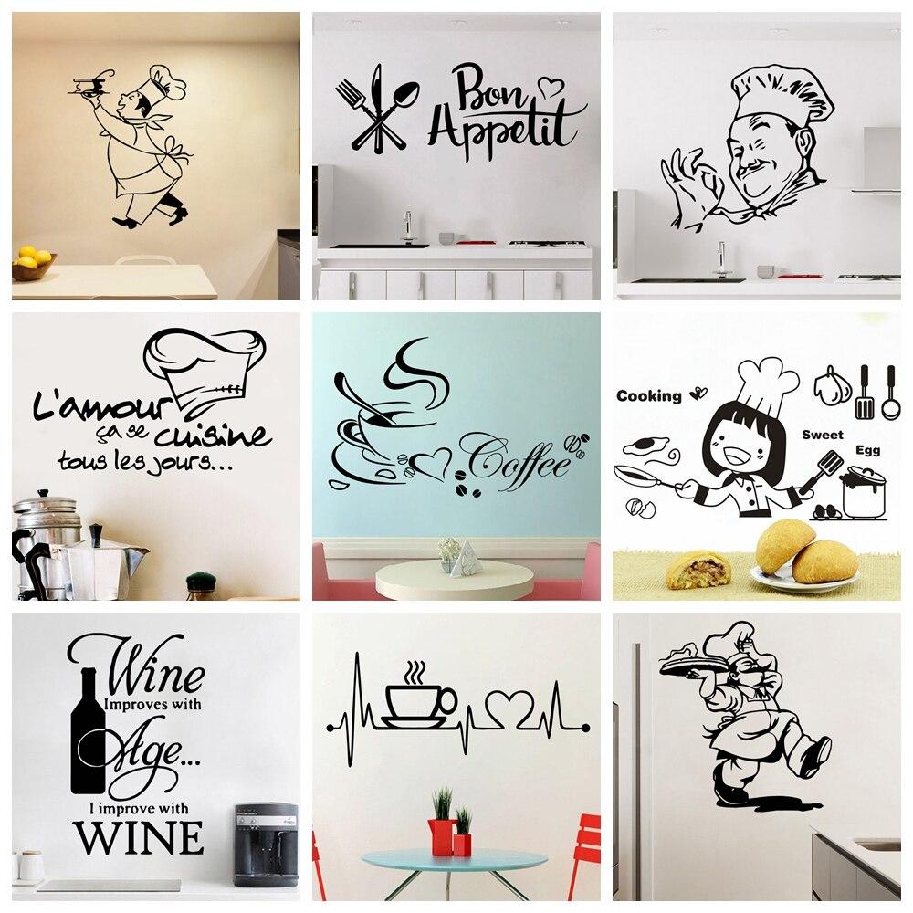 Кухонные виниловые настенные наклейки для домашнего декора, украшения для столовой, кухни/вина/кофе, настенные наклейки, настенные наклейки