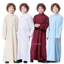 Robe musulmane adolescent enfants arabie saoudite Pakistan garçon Thobe moyen-orient à manches longues Jubba vêtements islamiques hommes fête Thobe caftan