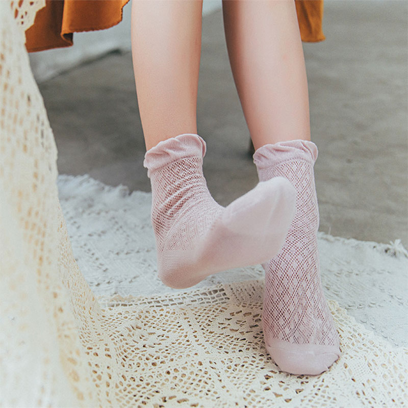Ten Pairs Of Batch Spring And Summer Pure Color Thin Mesh Lace Loose Top Stockings Cotton Hollow Stockings