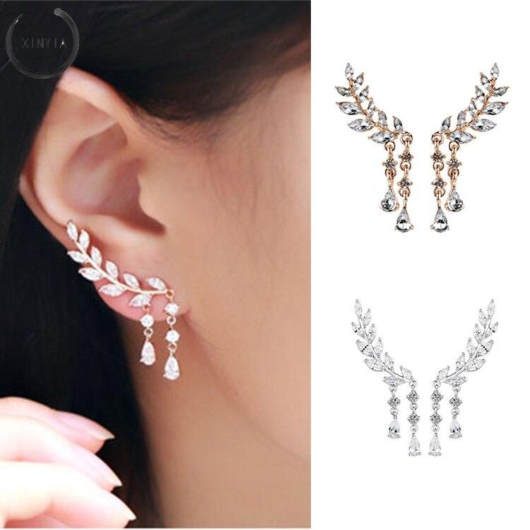 Pendientes largos de hojas de Zirconia de cristal a la moda para mujeres y niñas, joyería brillante, pendientes de cristal, joyería para fiesta y boda