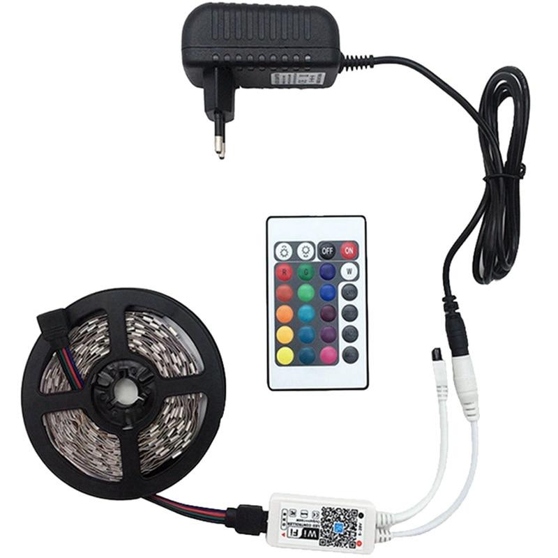 5M Wifi Rgb Led tira de luz impermeable Smd5050 Dc12V Led Tiras diodo Flexible cinta Contoller + enchufe Led tira (enchufe de la UE)