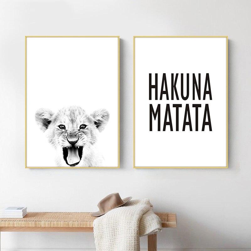 Hakuna Matata, cita, arte escandinavo, pintura en lienzo, estampado de León para bebé, Animal salvaje, póster blanco y negro para decoración del hogar de la habitación de los niños