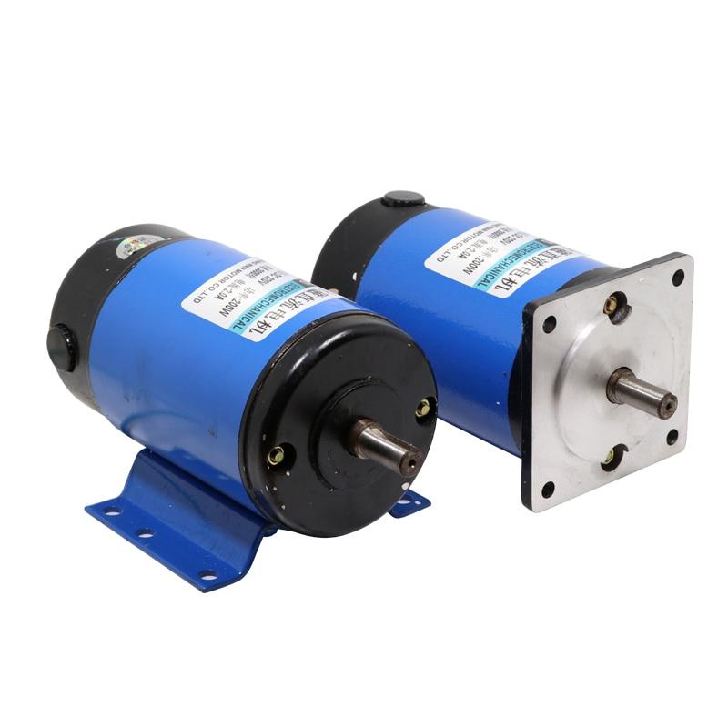 محرك صغير بمغناطيس دائم 200 وات ، 220 فولت تيار مستمر ، 1800 إلى عالي السرعة ، مع تنظيم السرعة إلى الأمام والعكس