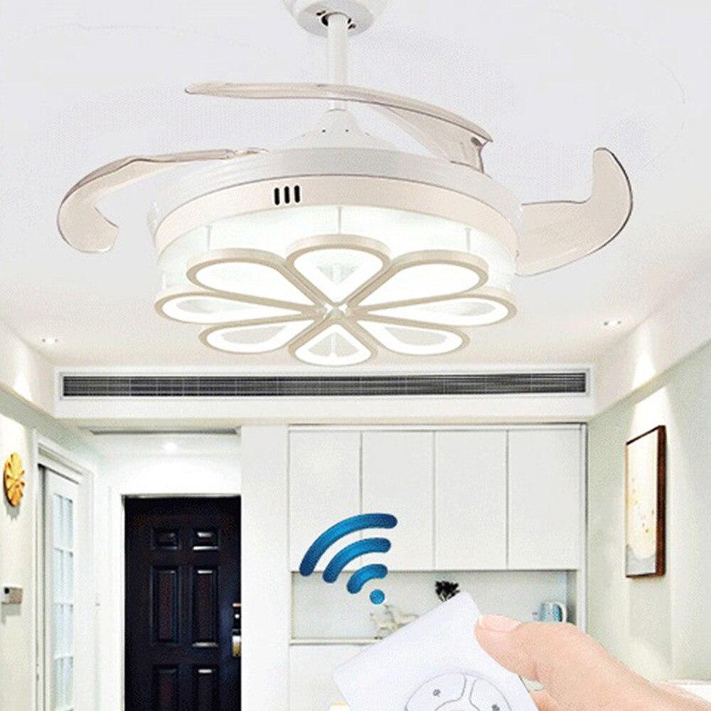 Lámpara de ventilador de techo LED de 42 pulgadas, luces de tres colores con Control remoto, ajuste de velocidad, hoja Invisible ABS