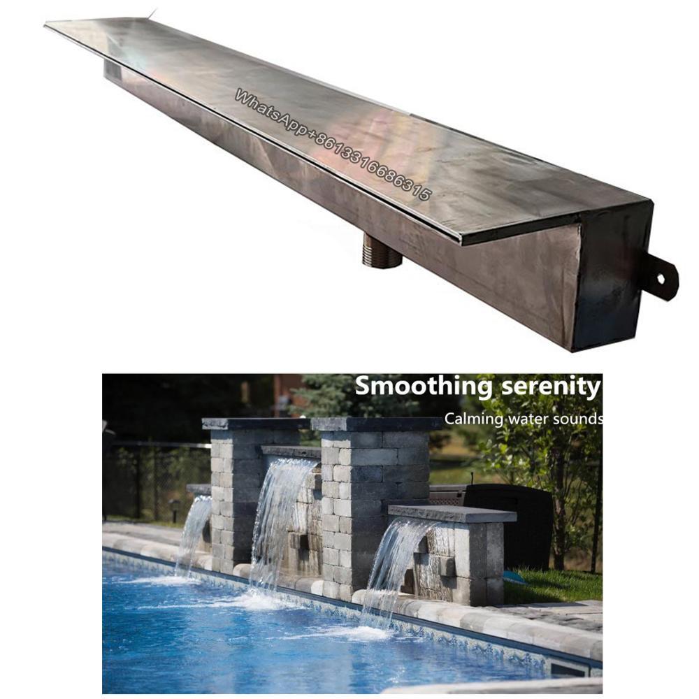 İndirimli yüzme havuzu spa ekipmanları paslanmaz çelik çeşmeler şelale duvara monte açık gölet su dolusavak çeşme