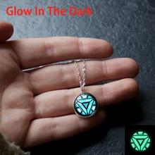 XUSHUI XJ lueur dans le fer sombre homme Arc réacteur verre Cabochon pendentif collier argent plaqué bijoux collier lumineux femmes
