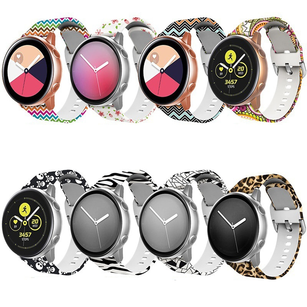 AliExpress - 20mm Silicone Band for Samsung Galaxy Watch 42mm Active 2 Watch Gear S2 S4 Printed Strap Watchband for Huawei Amazfit Bip