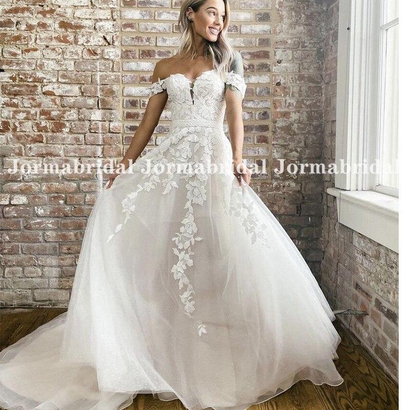 Review Floral Lace Wedding Dresses 2021 Off Shoulder A Line Bride Dress Princess Long Train Wedding Gowns Free Shipping Robe De Mariee