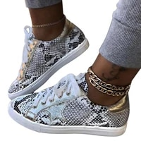 spring women sneakers lace up female pu glitter flats vulcanized shoes fashion snake platform shoes woman walking footwear 2020