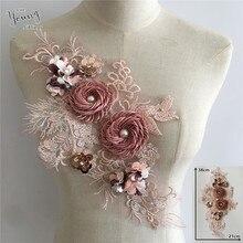 Collier en dentelle brodé 3D fleur   Pour costume de mariage, nouvel arrivage, broderie, ensemble Patch couture, accessoire perles ABS, nouvelle collection