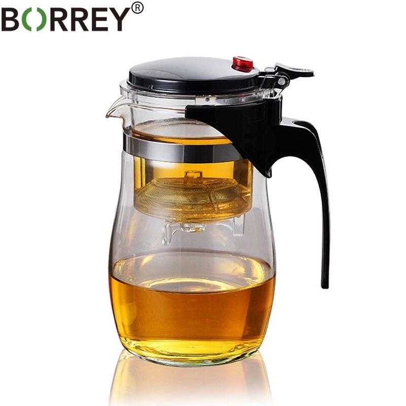 Tetera de vidrio borosilicato BORREY tetera de vidrio resistente al calor con filtro Infusor de té Puer tetera 500Ml Kung Fu tetera de flores de té