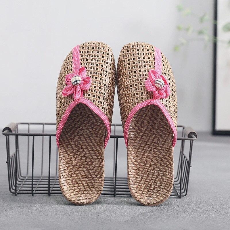 Pierre VILLAGE été lin maison intérieur plancher pantoufles femmes chaussures plates Couples lin plage sandales décontracté femme chaussures pour homme