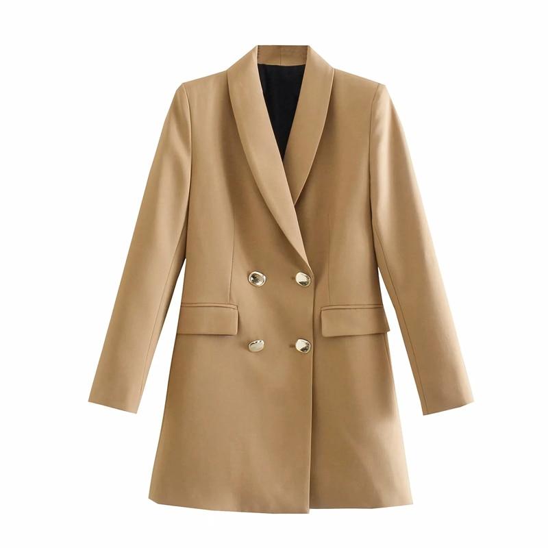موضة 2021 za سترة نسائية طويلة مزدوجة الصدر معطف عتيق بأكمام طويلة جيوب ملابس خارجية نسائية أنيقة سترات نسائية