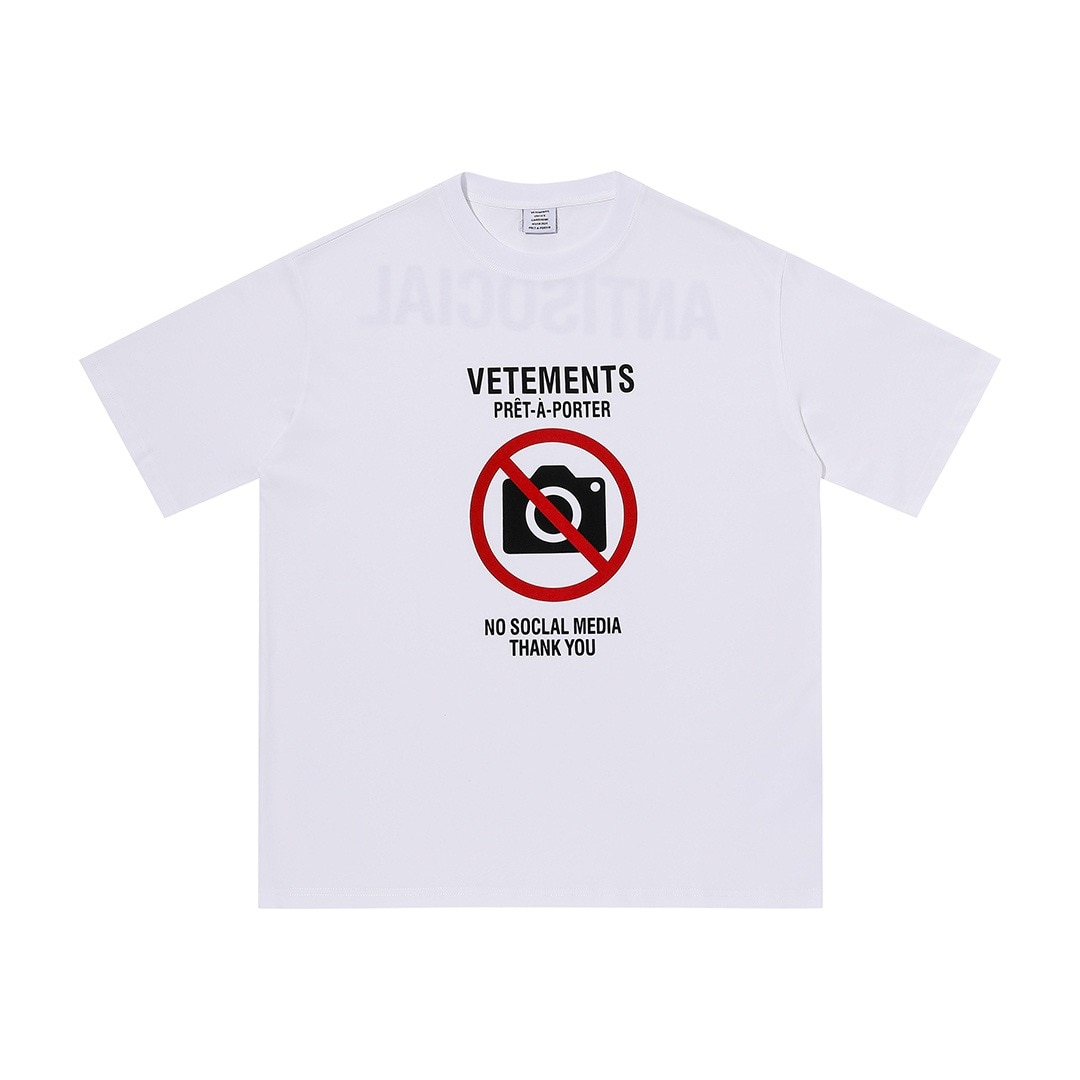 VTM No photos T-shirt 2021 Men Women 1:1 Best Quality 100% Cotton Oversized Short sleeve t shirts Antisocial Logo VTM Kris tops