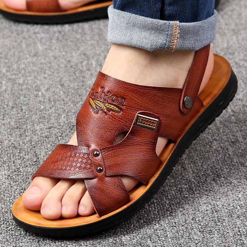 2020 Summer Beach Shoes Men Sandals Hombre Solid Casual Non-slip Dual Use Sandals Men Shoes Pu Ankle