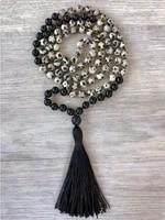 108 mala bead necklace matte black onyx dalmation spot hand knotted tassel mens prayer yoga meditation semi precious jewelry