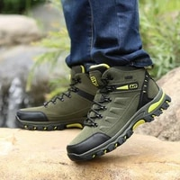 waterproof outdoor mountaineering climbing shoes for men leather breathable hiking shoes mid cut trekking boots tactical boots